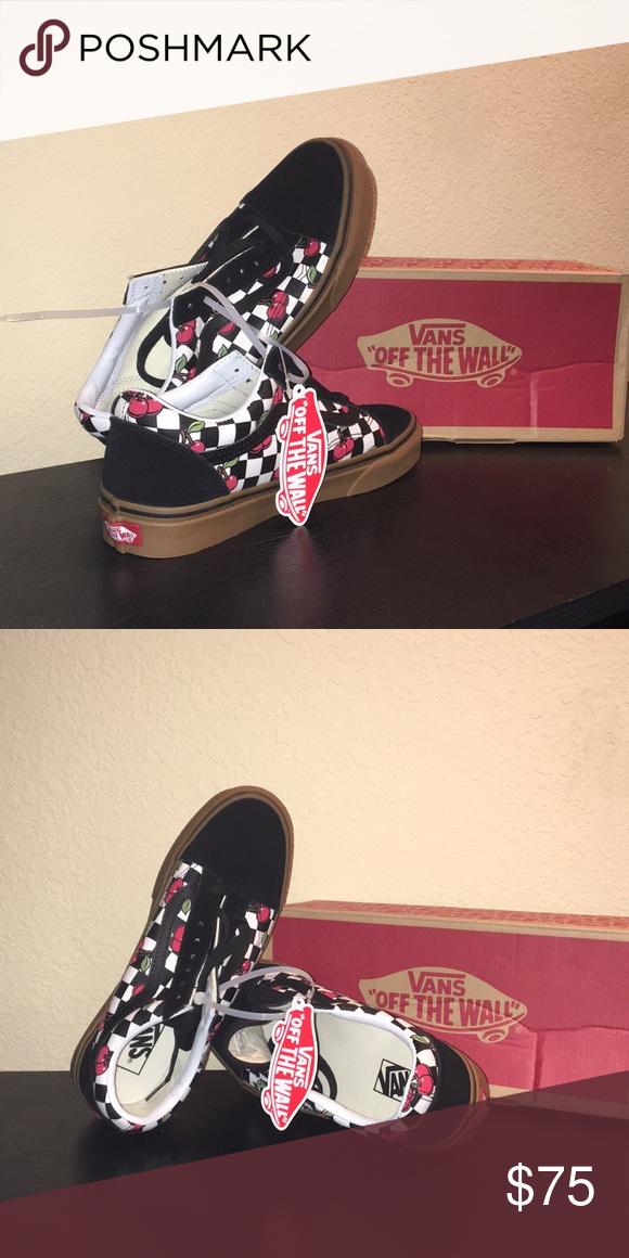 6c78b729cd Vans Cherry Checkerboard shoes old Skool New with box women s size 9.5    men s 8 classic Old Skool Line from vans Vans Shoes Athletic Shoes