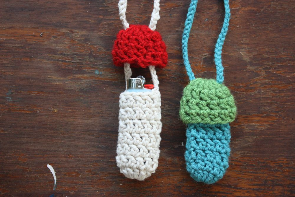 Lighter holder stash pouch with mushroom top orange and green crochet necklace- yellow Ready to Ship