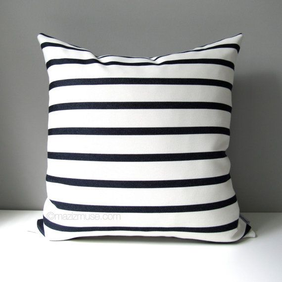 Navy Blue White Outdoor Pillow Cover