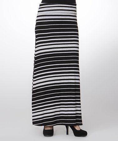 Love this Black Stripe Maxi Skirt on #zulily! #zulilyfinds