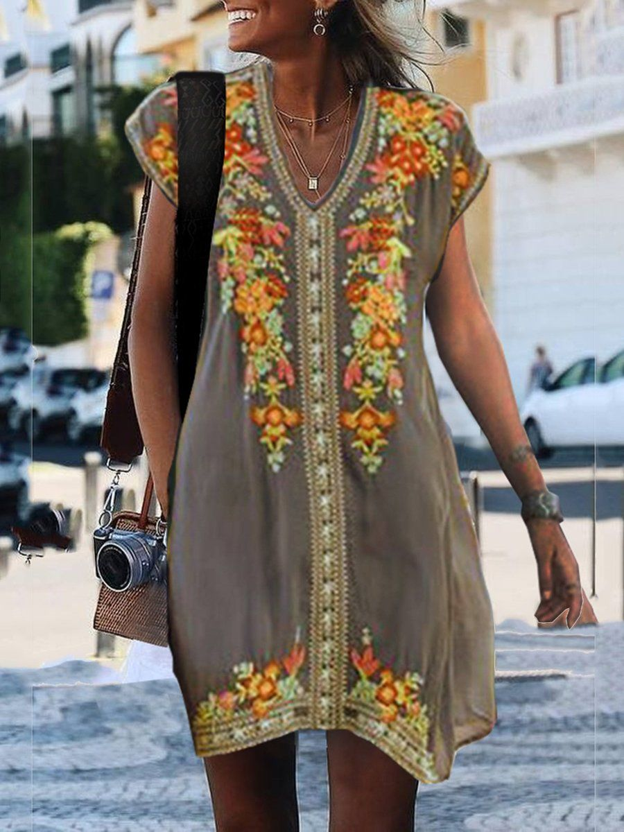 Boho Shift V Neck Embroidery Boho Chic Annie Cloth Casual Short Sleeve Dress Long Sleeve Casual Dress Embroidered Shift Dress [ 1200 x 900 Pixel ]