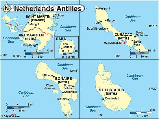 awesome netherlands antilles map