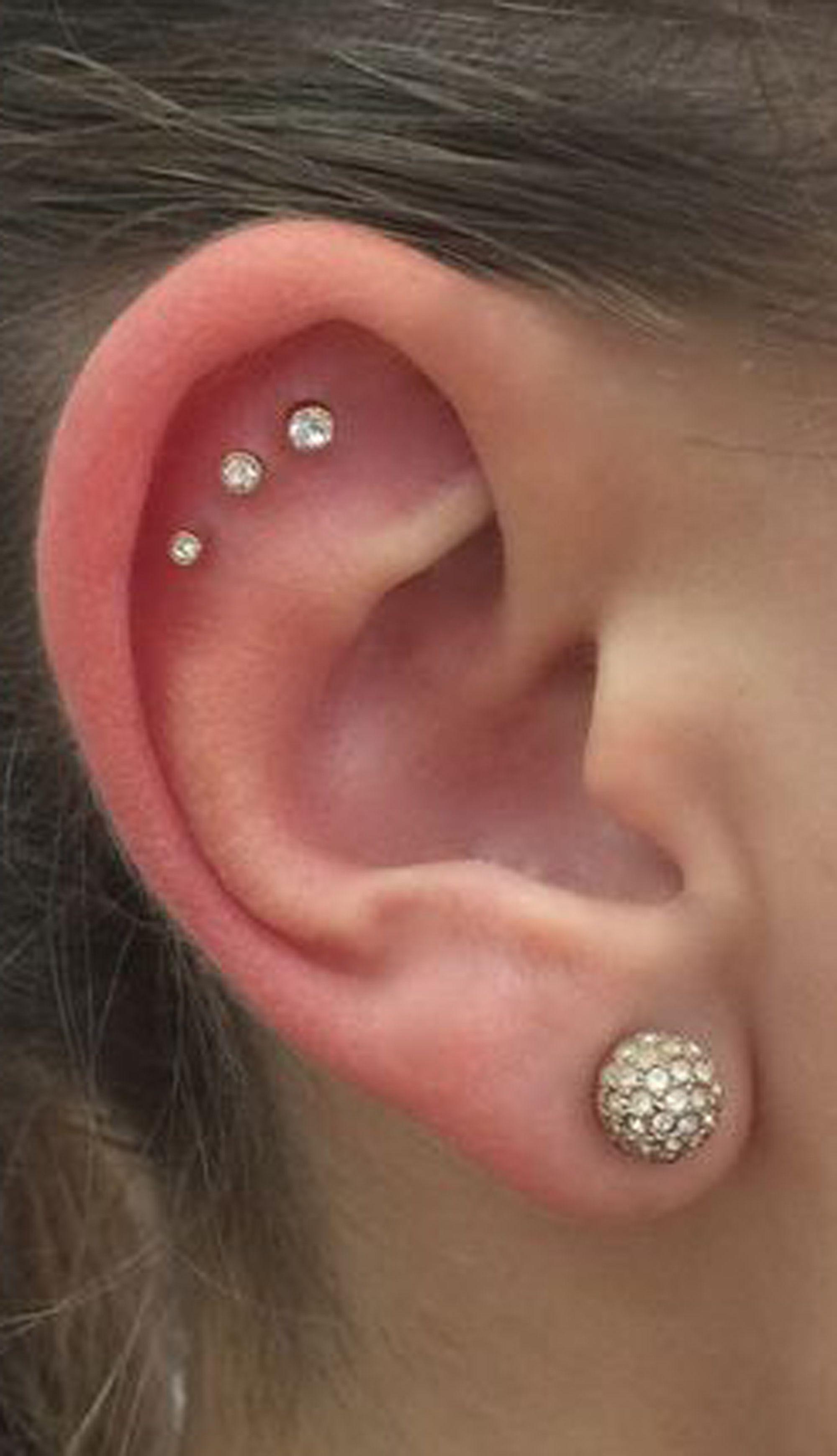 b5b8133a3 cute triple crystal helix cartilage constellation ear piercing ideas alva  Flat Piercing, Ear Piercings Helix