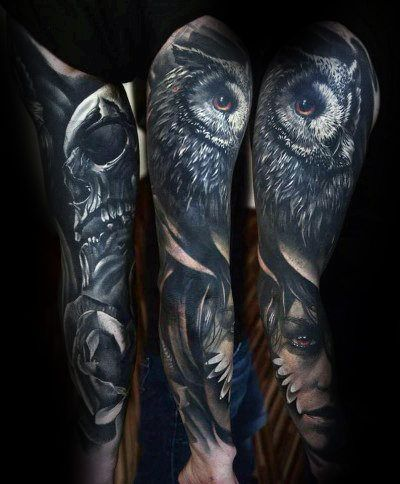 Owl Sleeve Tattoo : sleeve, tattoo, Realistic, Tattoo, Designs, Nocturnal, Ideas, Tattoo,, Sleeve