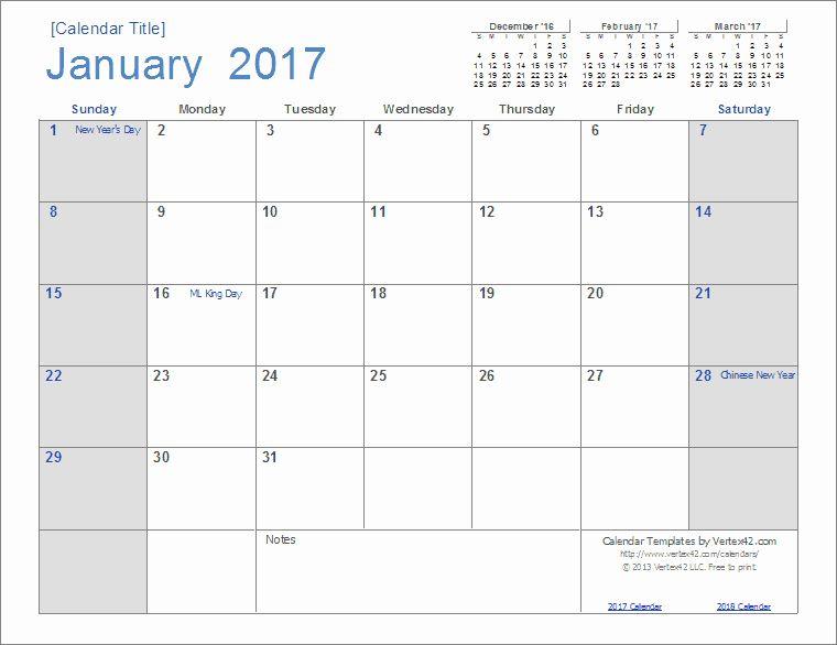 25 Monthly Calendar 2017 Template In 2020 Excel Calendar