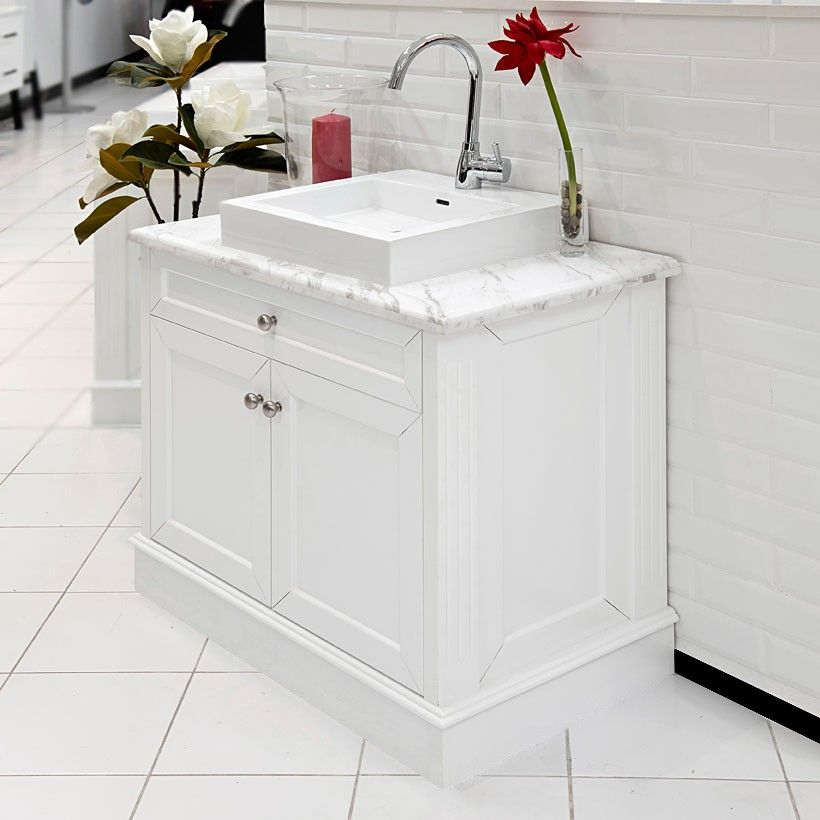 High Quality Allure Bathrooms | CLASSIC 900 WHITE MARBLE TOP VANITY