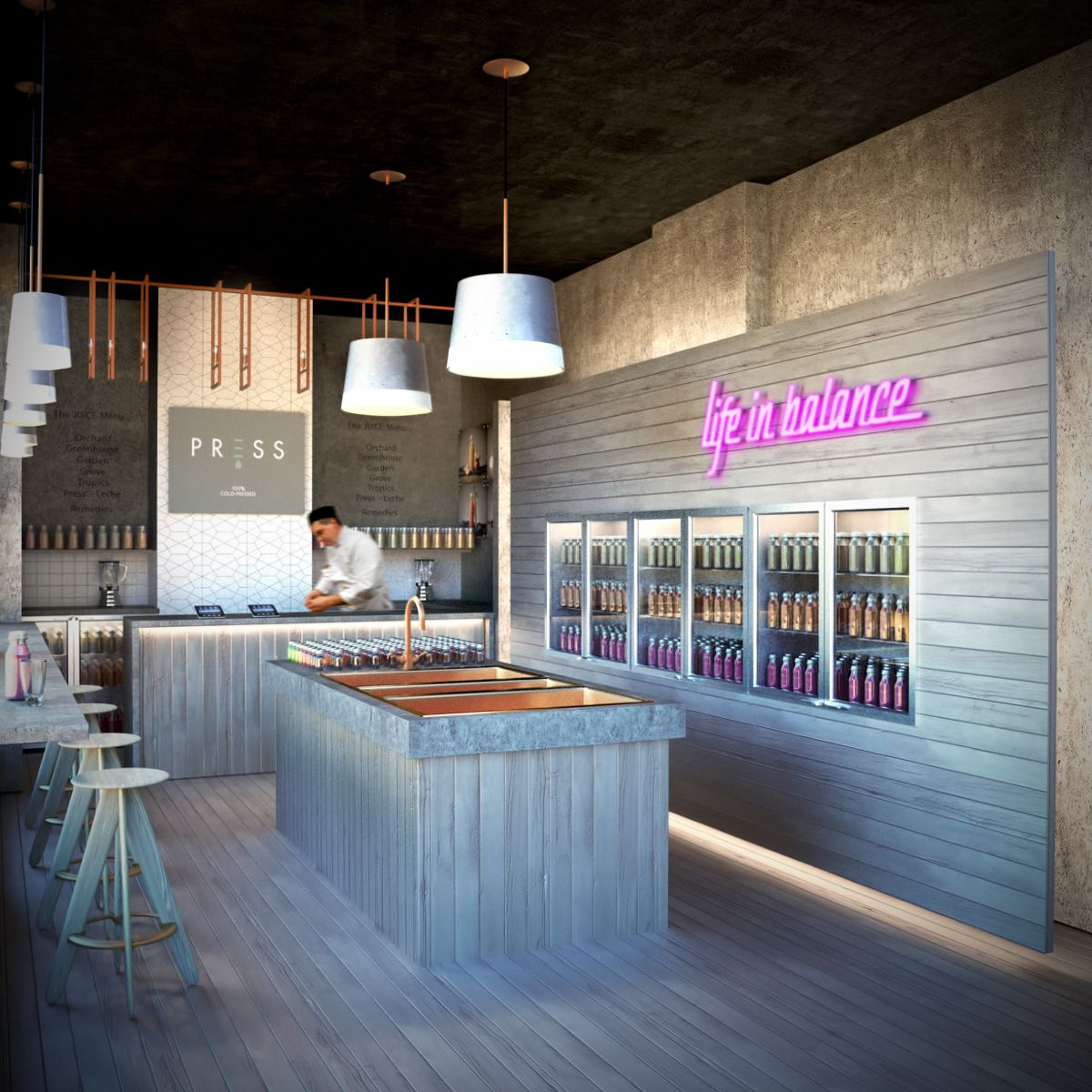 Bar Interior Design: CGI-Juice Bar. Stark Nice Logo On The Back Wall Reading