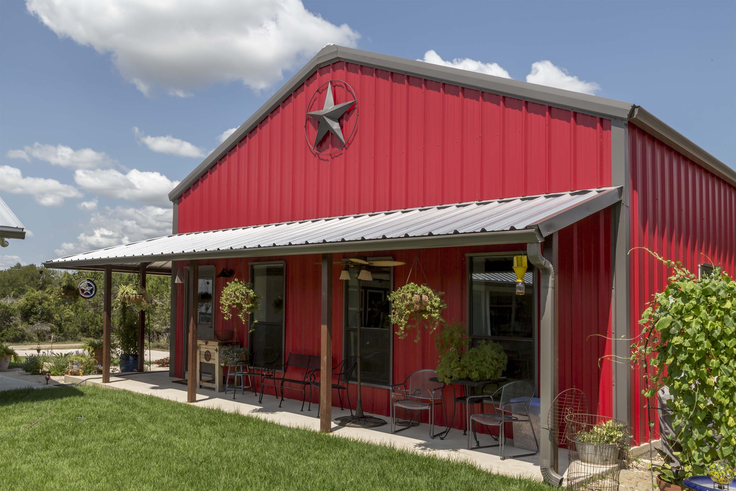 Steel building 30x40 barndominium metal building ideas for Red barn prefab