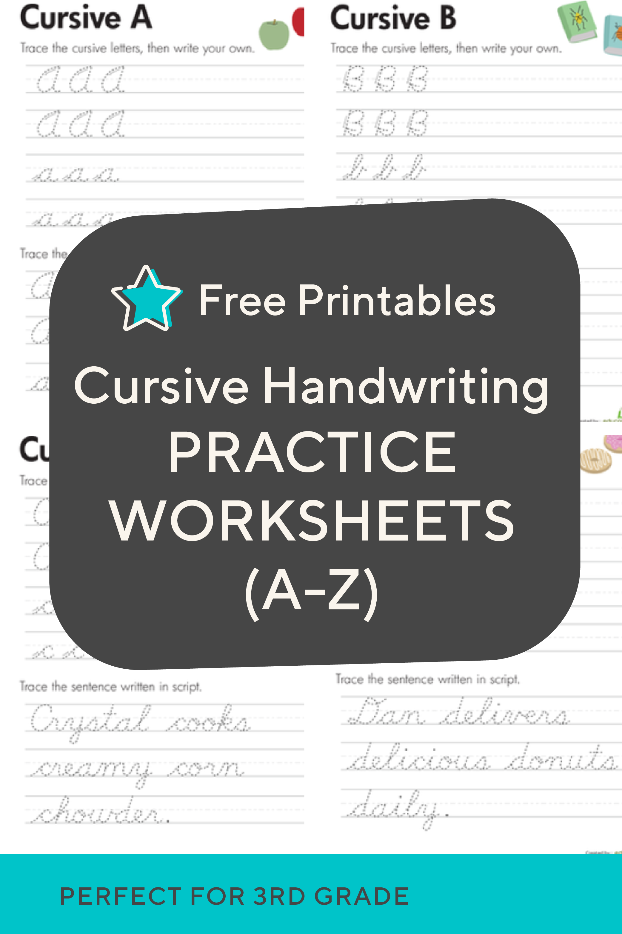 small resolution of Practice cursive letters A-Z with free cursive handwriting worksheets.  These a…   Cursive handwriting practice