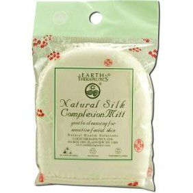 "Natural Silk Complexion Mitt 1 Count by Earth Therapeutics. $6.05. Serving Size:. 1 Count. There's nothing more delicate than this 100% silk complexion mitt for cleansing sensitive facial skin. The two-sided mitt design brings together a satiny smooth surface with a terry weave. Both sides treat skin kindly, gently drawing out dirt and other impurities. The only thing left behind is a beautifully soft complexion. 4""L x 3""W"