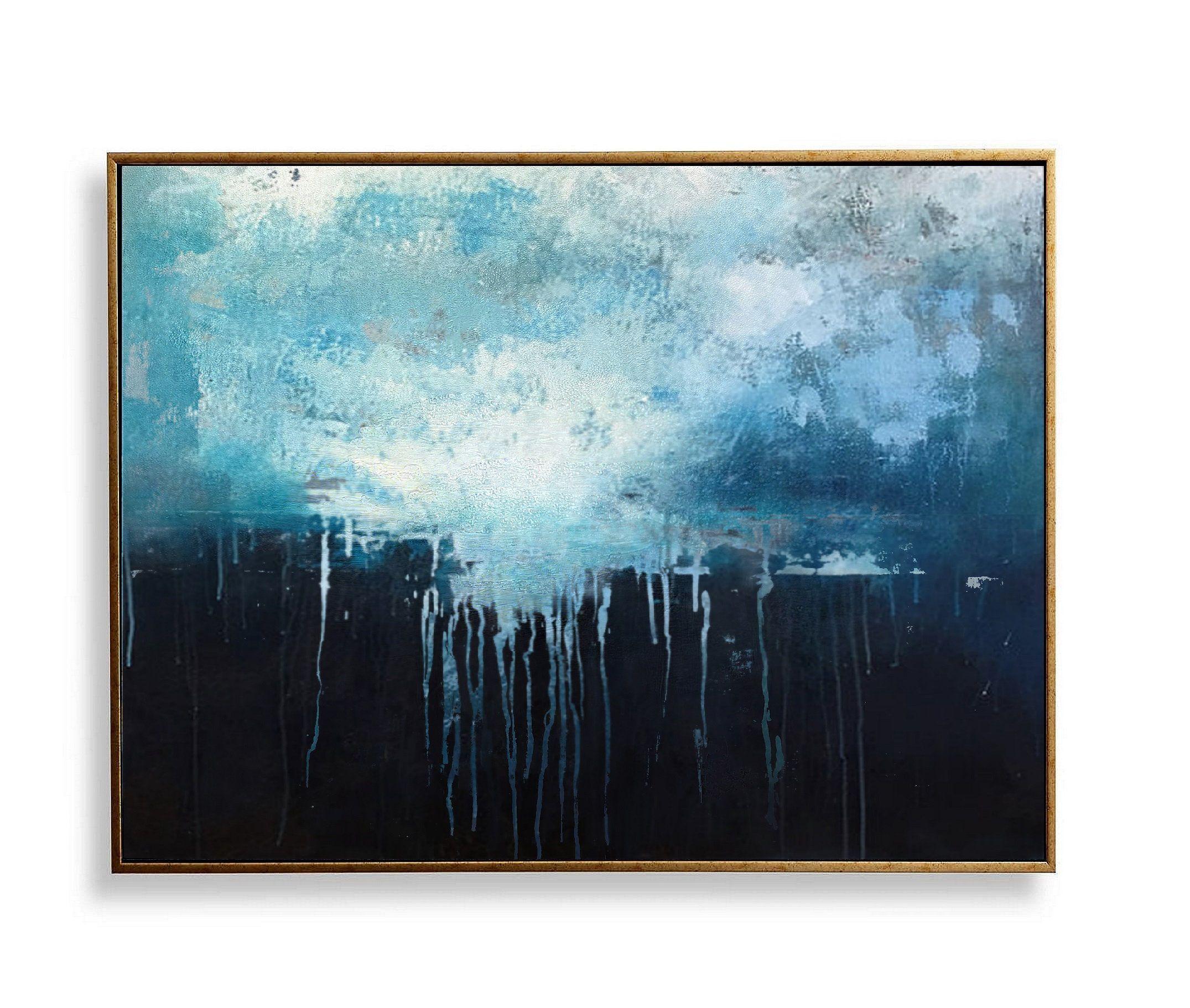 Large Dark Blue Abstract Art Sky Landscape Oil Paintingblack Etsy Oil Painting Abstract Blue Abstract Art Art Painting Oil