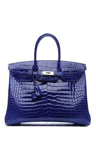 62bb214b777 Vintage Hermes 35Cm Shiny Electric Blue Porosus Crocodile Birkin
