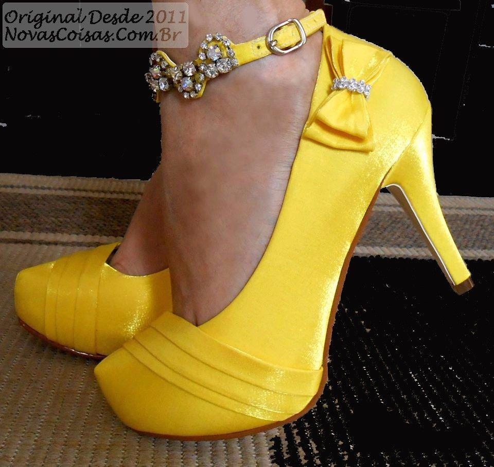595a7d055d Sapato de Noiva Amarelo   Tudo para casamento   Sapatos de noiva ...