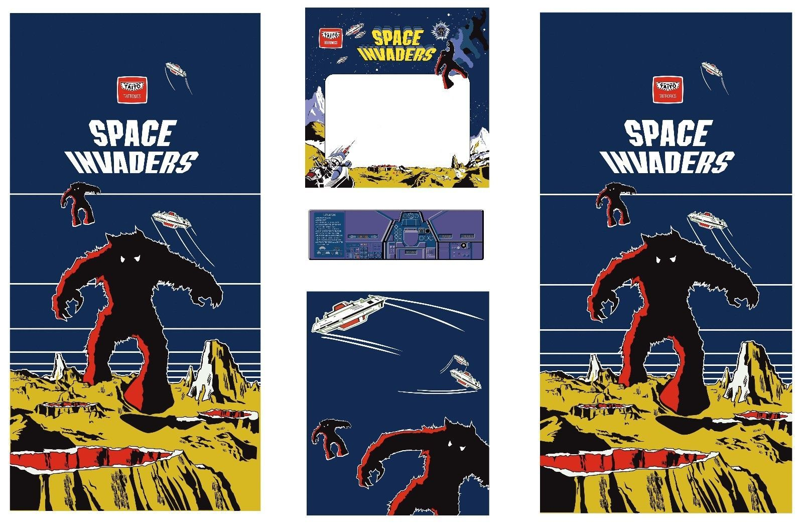 Full Set Side Art Arcade Cabinet Space Invaders Artwork Kit Arcade Cabinet Space Invaders Cabinet Space