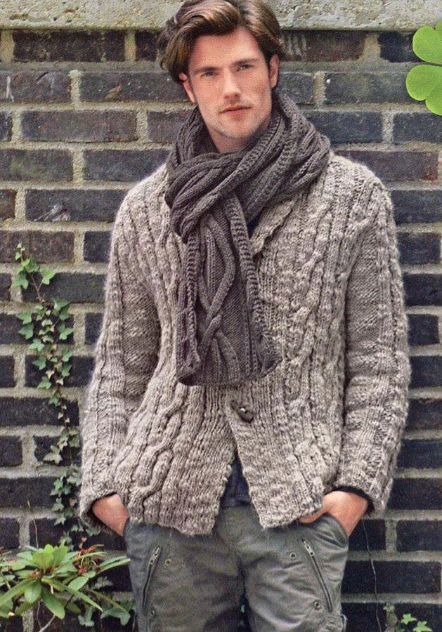 Вязаная куртка и шапка (Вязание для мужчин) Вязание 58