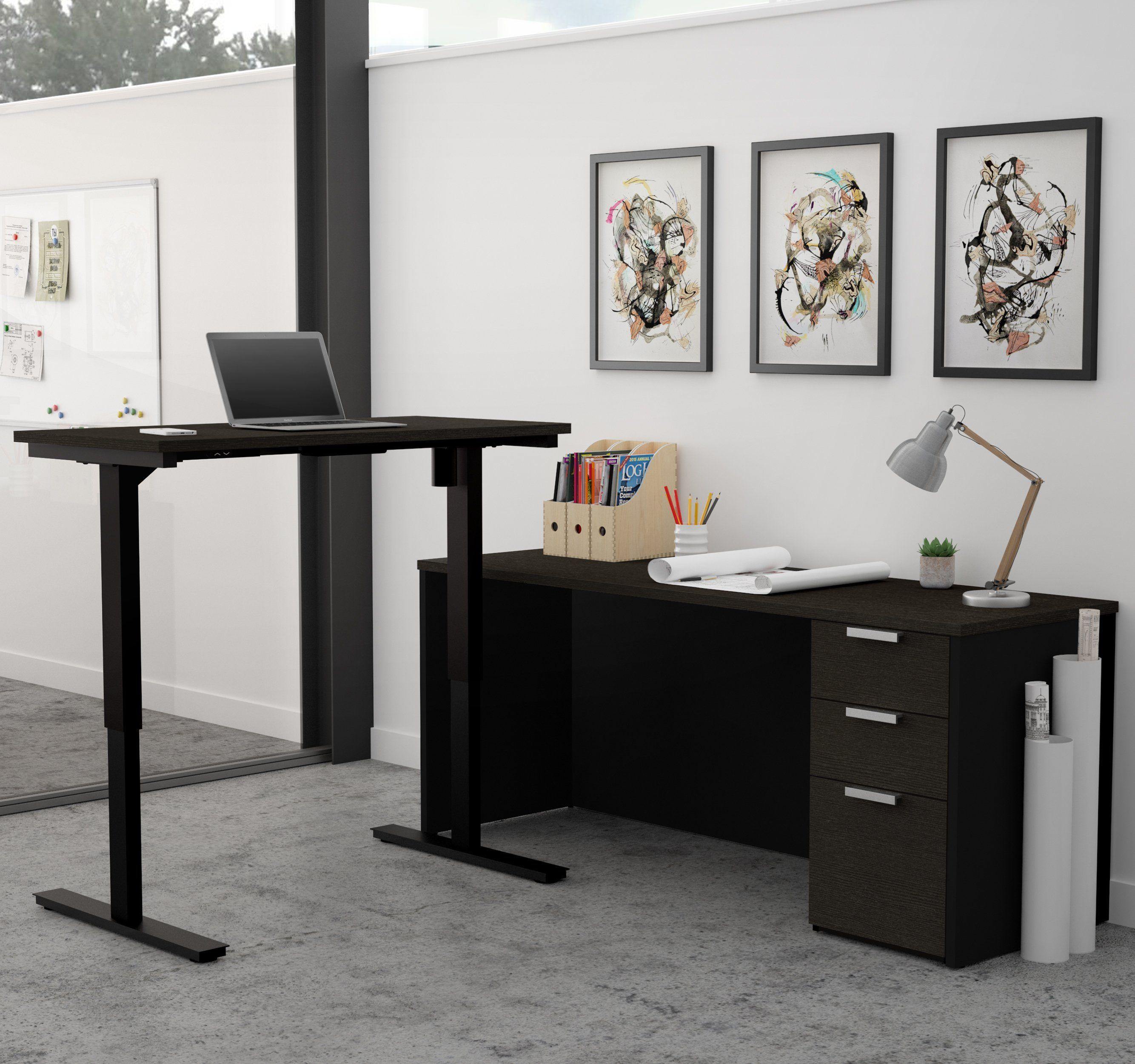 Deep Gray & Black Single Pedestal Desk with Height