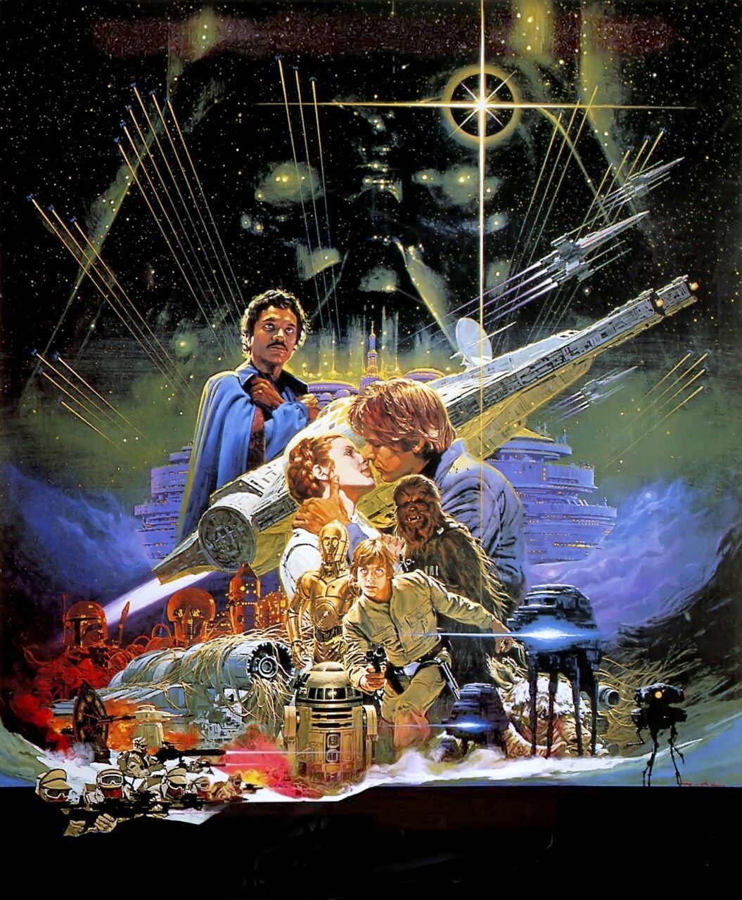 Star Wars art by Japanese illustrator, Noriyoshi Ohrai. (He did that skeletal soldiers image I posted a few days ago.) His international poster for The Empire Strikes Back unfortunately was before my time—my local cinema had a habit of showcasing movie posters in a lavish way, and that one would have been a sight to see for sure.
