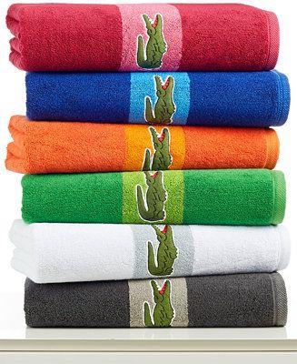 Lacoste Signature Logo Bath Towel 100 Terry Cotton Bath Towels Bed Amp Bath Macy 39 S Bed Linen Inspiration Towel Lacoste