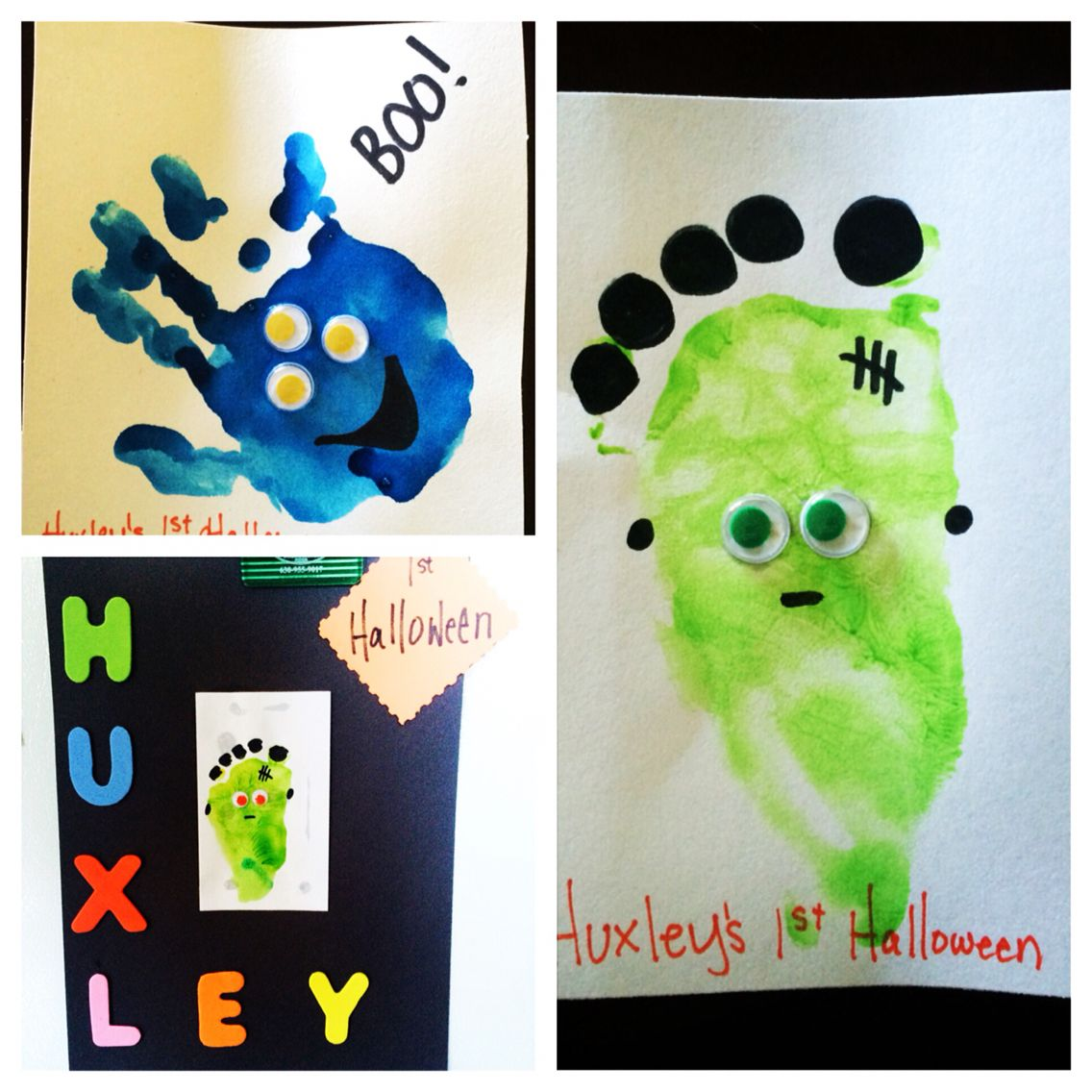 We did it! Baby first Halloween hand and foot print!