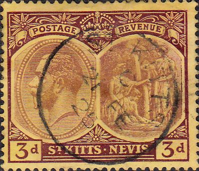 1921 St Kitts - Nevis King George V SG 29 Fine Used SG 29 Scott 29 Other British Commonwealth Stamps here