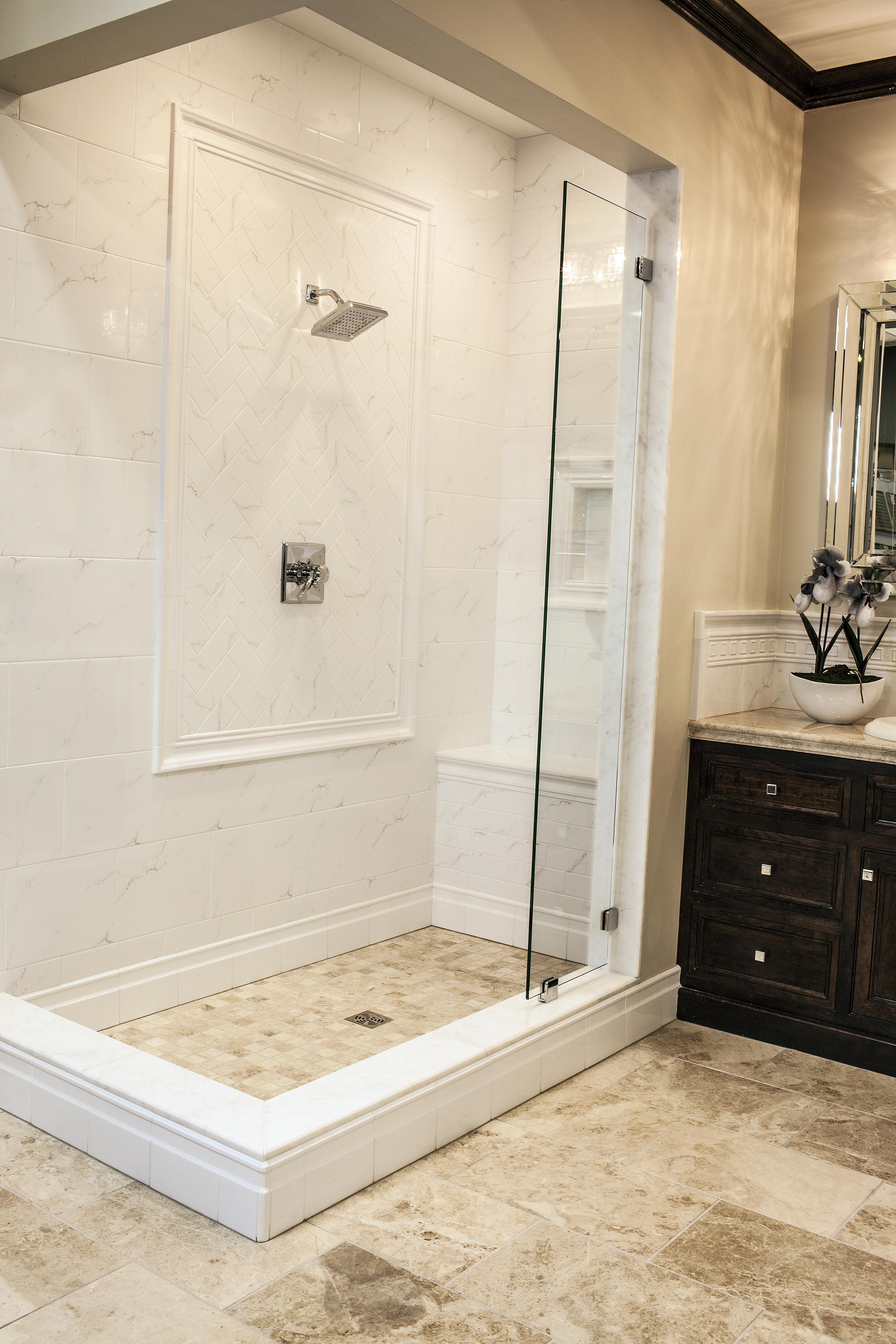 Walk-in ceramic tile shower - interesting idea to put… | Bathroom ...