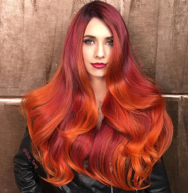 варианты исполнения окрашивание волос как пламя фото ставит одну
