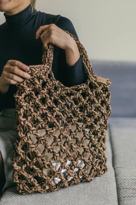 Gehakelte Tasche Muster Hakeln Tasche Pattern Strandtasche Tragetasche Muster Tasche Hakeln Taschenmuster