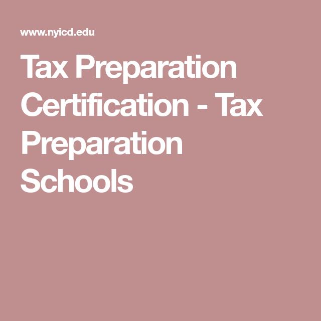 tax preparation certificate certification edu