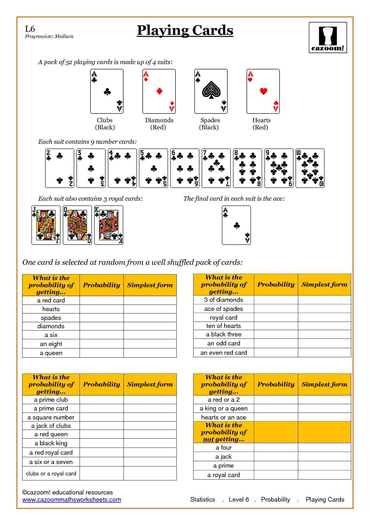 hight resolution of Statistics Probability Worksheets at level ks3 and ks4   Probability  worksheets