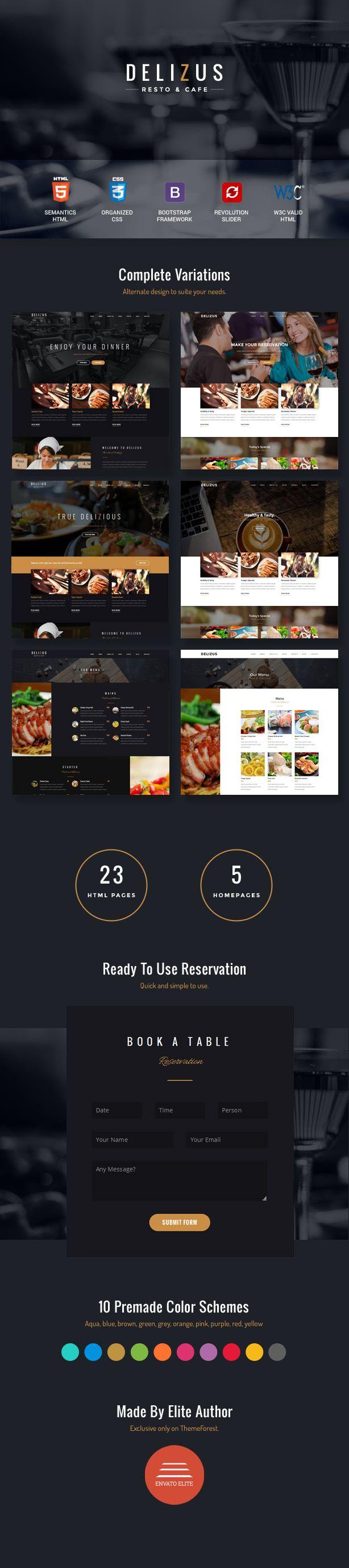 Restaurant Website Template - Delizus | Restaurant website templates ...