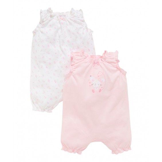 Mothercare Pelele S/M 2PK Mouse/Flor Rosa