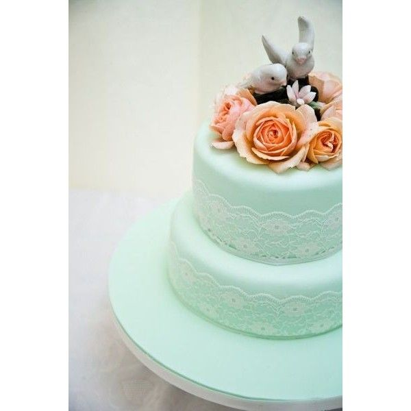 Mint Green Lace Orange Roses And Vintage Topper Wedding C