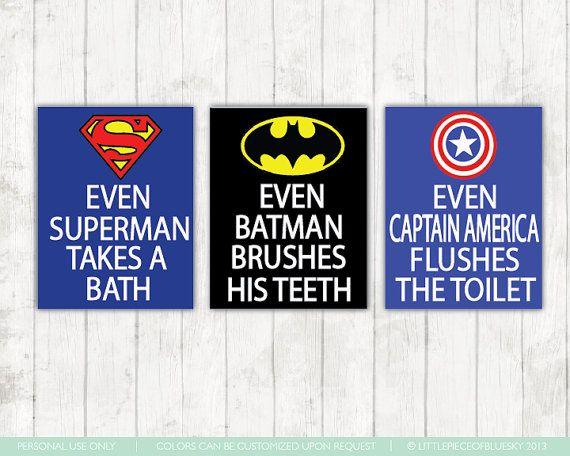 Superhero Bathroom Art Prints - Set of 3 8x10 or 11x14\u0027s - \