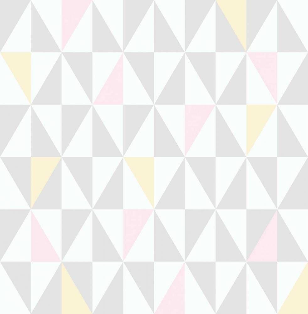 Papel de parede coleção geometria retângulos branco, rosa  ~ Quarto Rosa Com Papel De Parede