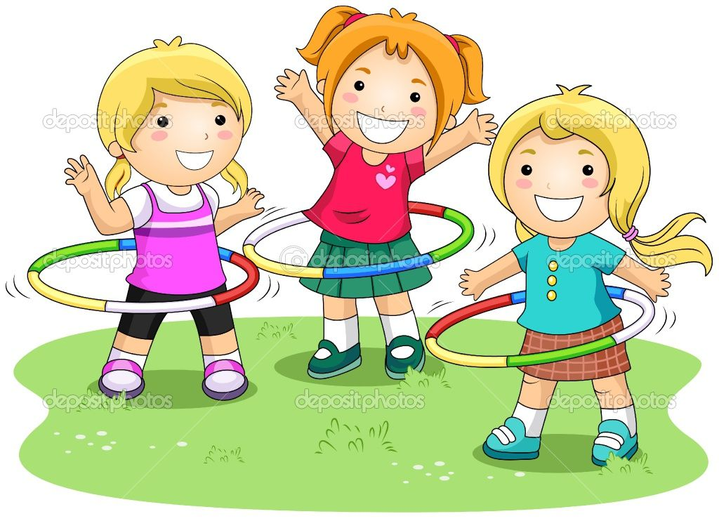 Playing With Friends Cartoon Kids School Murals Cute Clipart