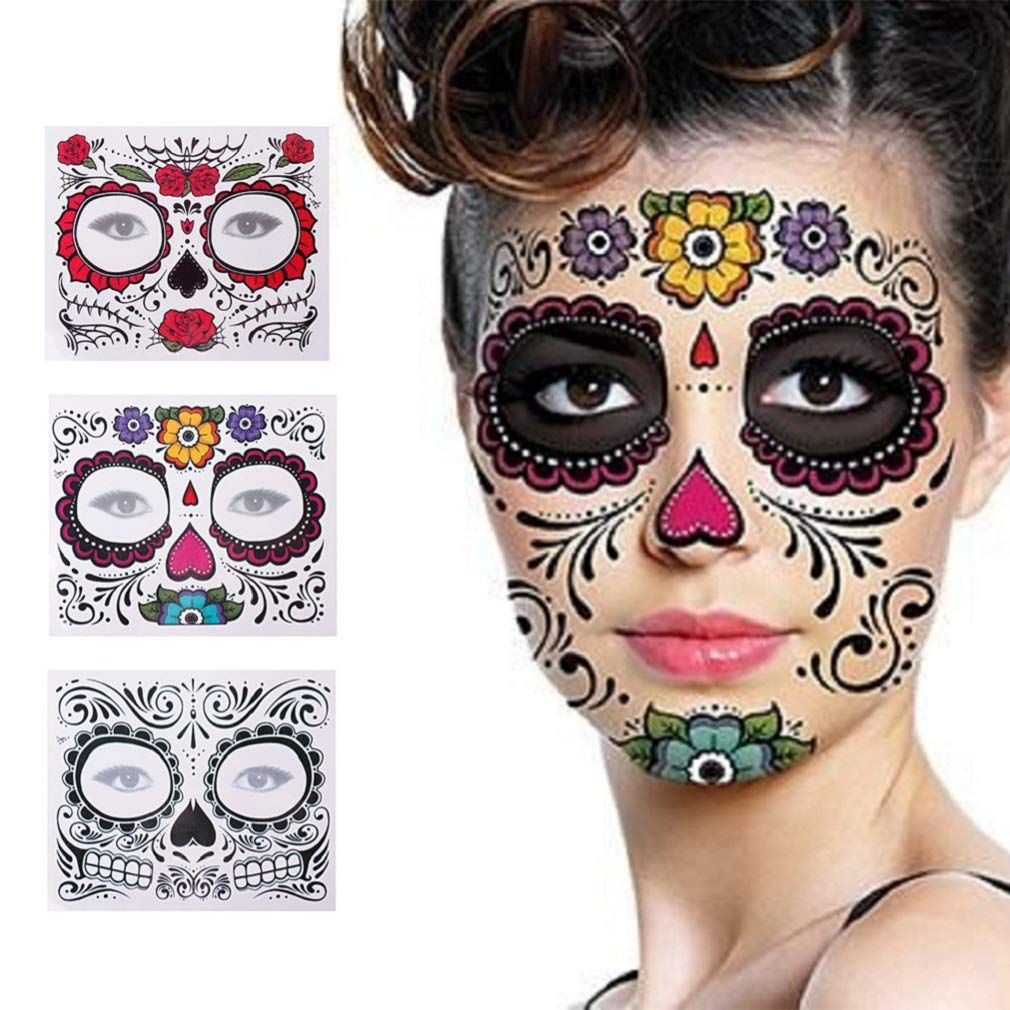 3 Pack Halloween Face Tattoo Sticker Glitter Red Roses Day