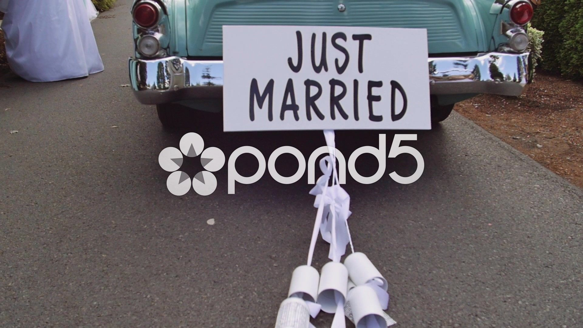 just married car with cans slow motion stock footagecans