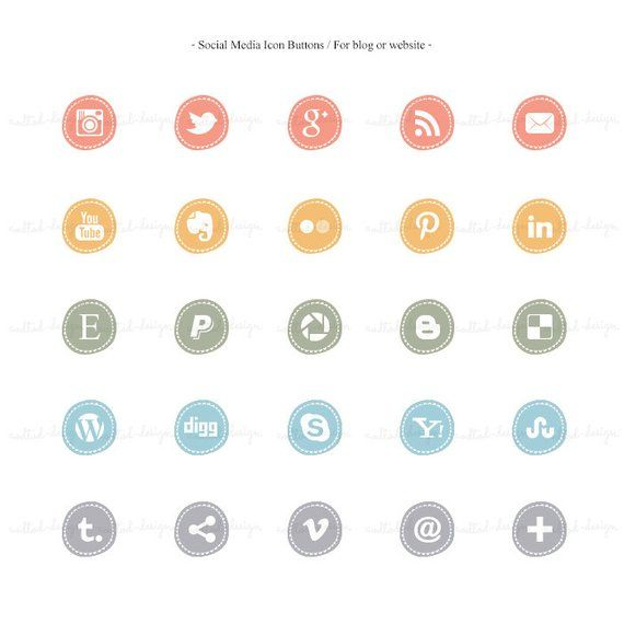 25 Social Media Icon Buttons, For Blog Or Website, Social