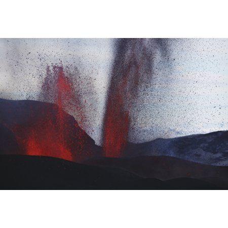 Fimmvorduhals eruption lava fountains Eyjafjallajokull Iceland Canvas Art - Martin RietzeStocktrek Images (34 x 23)