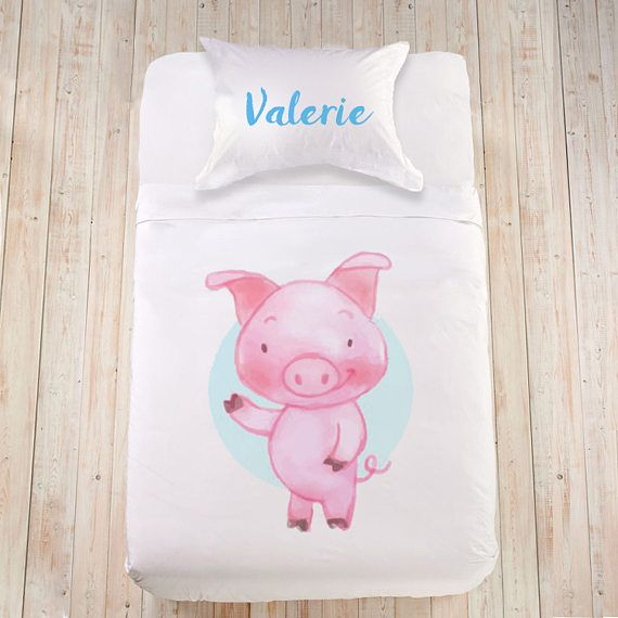 Pink bedding Pig bedding Gifts with names Watercolor animals Farm animals bedding Personalized duvet cover set for child Kids bedding set