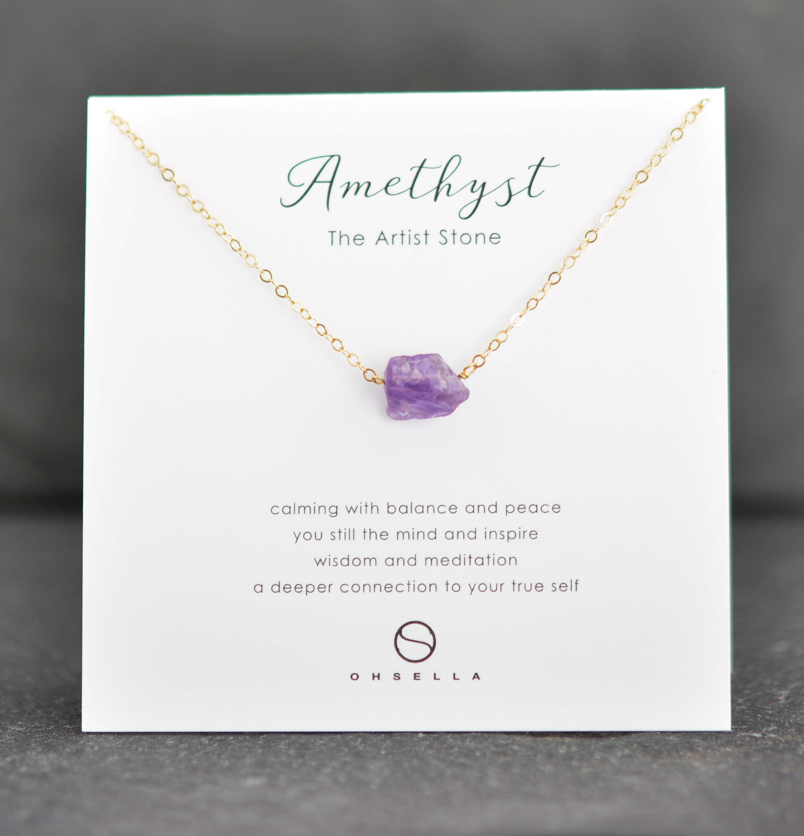 Amethyst Raw Stone Necklace Calming Necklace Raw Amethyst pendant Meditation pendant February birthstone gift Layering necklace