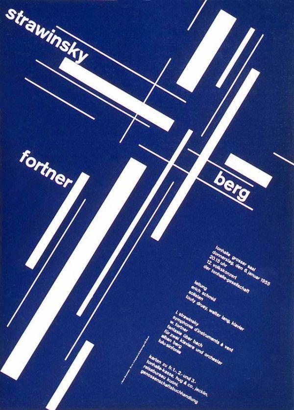Tonhalle Gesellschaft Zürich poster, Josef Müller-Brockmann (1955)