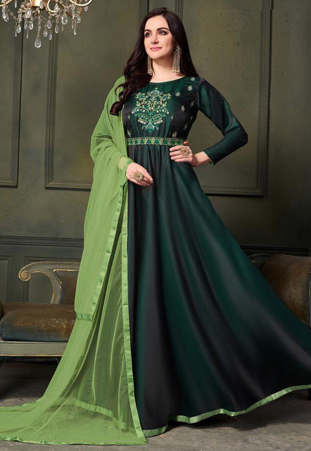 d8e4bd4ed9 Buy Green Taffeta Flared Long Anarkali Suit 158670 online at lowest price  from huge collection of salwar kameez at Indianclothstore.com.