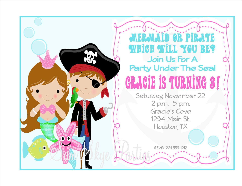 Under the Sea, Pirate and Mermaid Invitation, Birthday Parties DIY ...