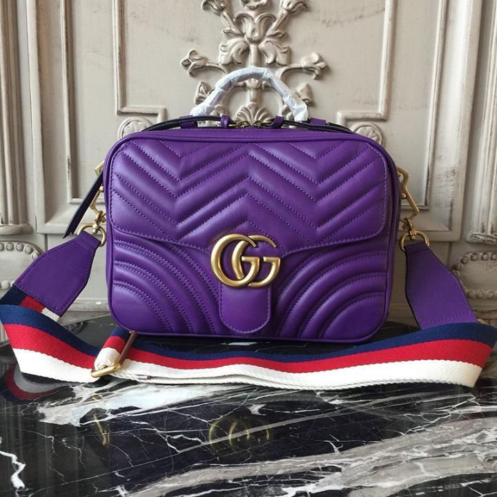 ac30453fbcf3 Gucci GG Marmont Chevron Quilted Top Handle Camera Bag 26cm with Sylvie Web  Strap Calfskin Leather 498100 Spring Summer 2018 Collection Purple