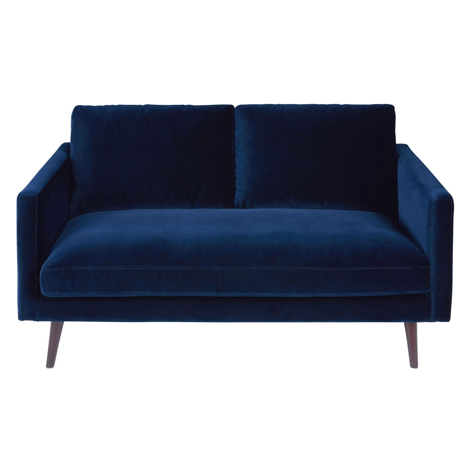 Midnight Blue 2 Seater Velvet Sofa 734 Canape Velours Bleu