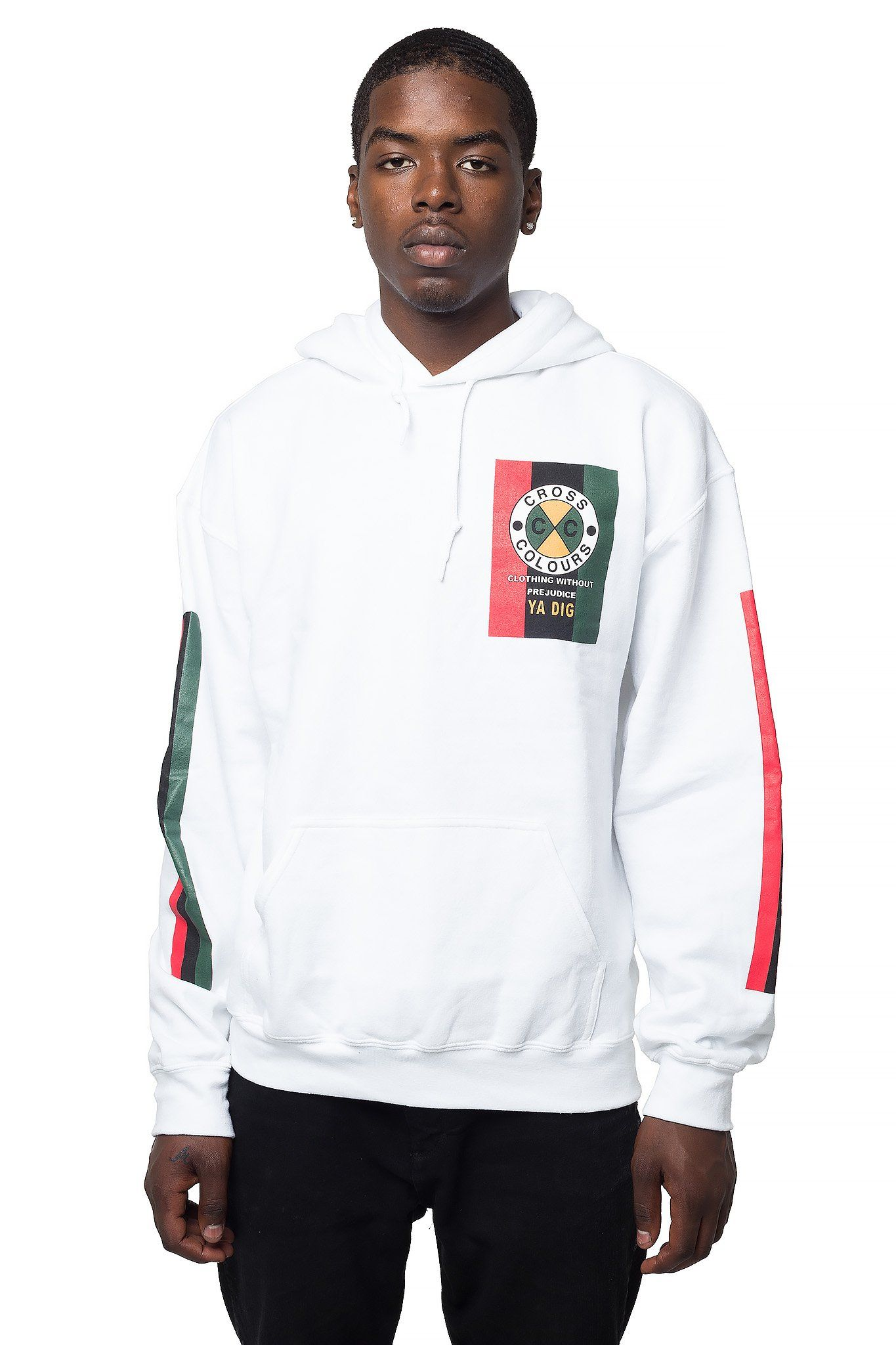 Cross Colours Flag Logo Hoodie White Online fashion