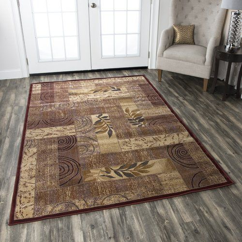 Bellevue Floral Brown Burgundy Area Rug Abstract Rug Rizzy Home Area Rugs