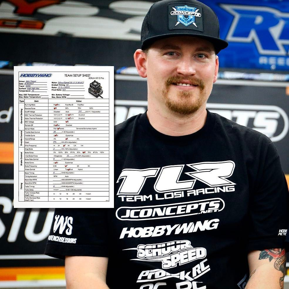 2017 Stock Nationals winner - Jake Thayer HOBBYWING ESC setup sheet
