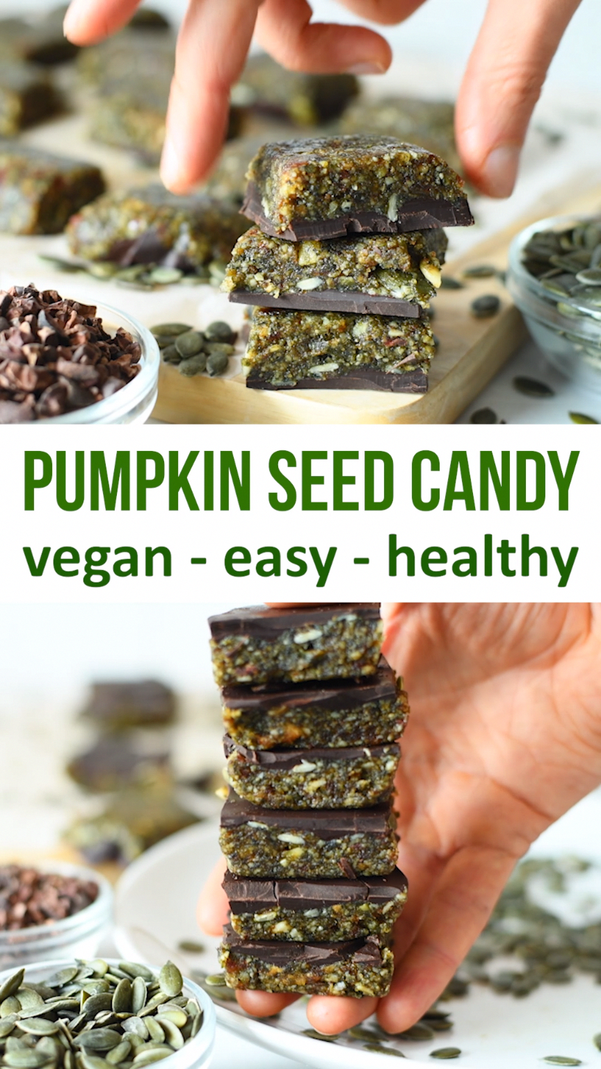 3-Ingredient pumpkin seed chocolate candy. Easy to make healthy treat made from pumpkin seeds, fruit and dark chocolate. Use a very dark chocolate that's high in cacao for health benefits